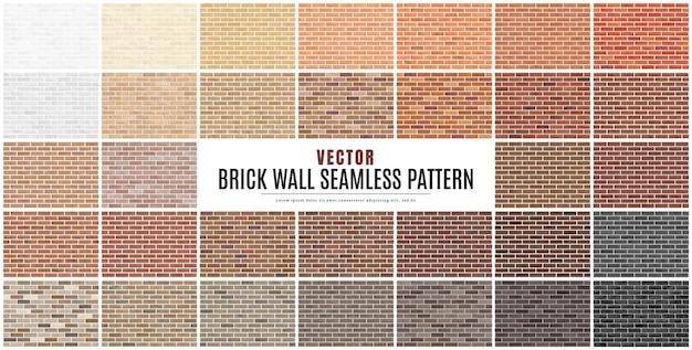 ブロックレンガ壁シームレスパターンコレクションセットテクスチャ背景。