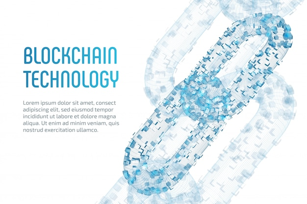 Block chain. crypto currency. blockchain concept. 3d wireframe chain with digital blocks. editable cryptocurrency template. stock