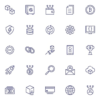 Block chain icon pack, with outline icon style