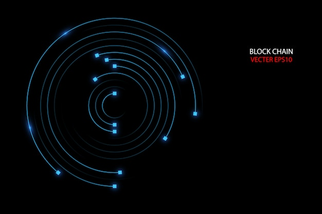 Block chain network circle ring movement line in blue  light concept.
