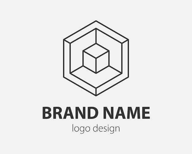 Блок абстрактный дизайн логотипа технология связи вектор шаблон линейный стиль. разведка интернет интернет значок концепции логотипа.