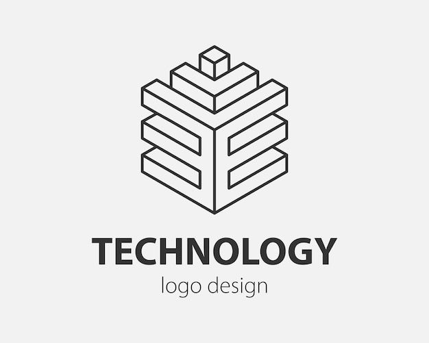 Block logo abstract design technology communication vector template linear style. intelligence internet web logotype concept icon.