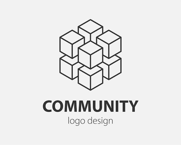 Блок абстрактный дизайн логотипа технология связи вектор шаблон линейный стиль.