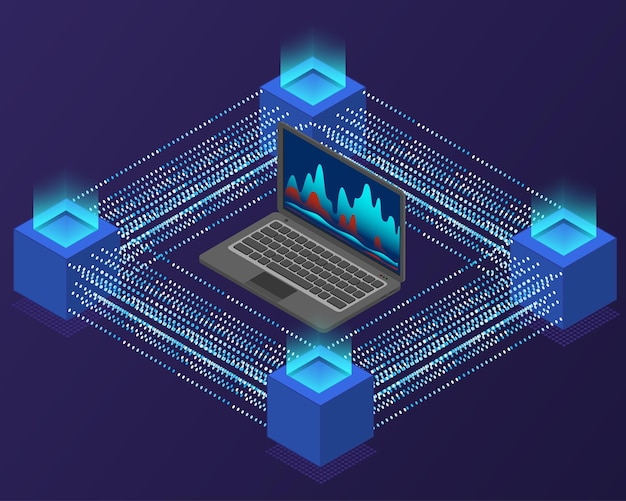Блокчейн и концепция криптовалюты. передача информации. ноутбук представляет собой изометрическую проекцию. технологический фон. фиолетовые темные цвета. векторная иллюстрация