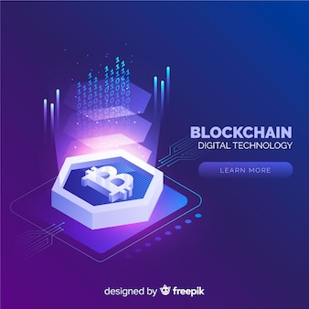 Blockchain background in isometric style