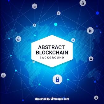 Blockchain background with world map