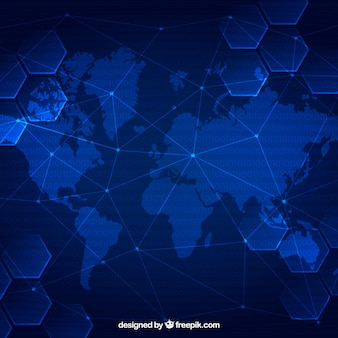 Blockchain background with world map