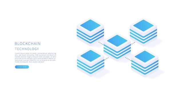 Blockchain blockchain technology concept in isometric vector flat vector illustration