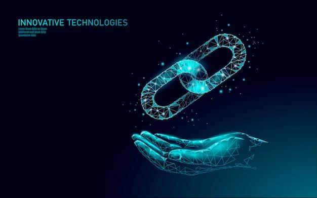 Концепция бизнес-символа blockchain. цепное соединение, сеть финансов, информационная безопасность. . глобальная электронная коммерция в интернете