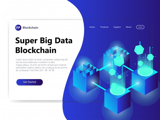 Blockchain concept for landing page cryptocurrency