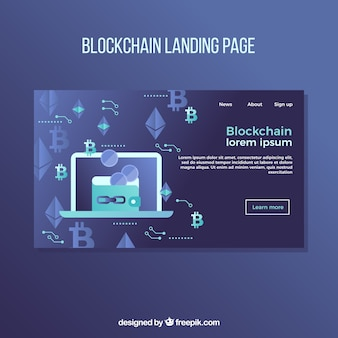 Blockchain concept for landing page