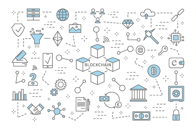 Blockchain concept. modern digital technology. safe financial transactions. cryptocurrency and bitcoin. set of blockchain and banking icons.  line  illustration