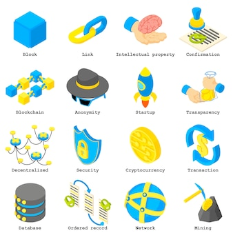 Blockchain crypto money icons set. isometric illustration of 16 blockchain crypto money vector icons for web
