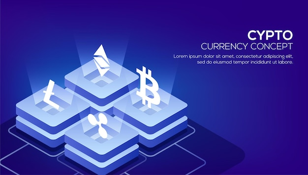 Blockchain or cryptocurrency based isometric view of glowing block servers linked to each other for responsive landing page design.