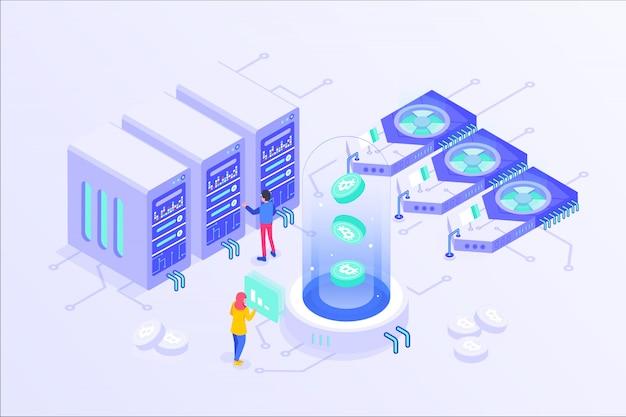 Blockchain cryptocurrency bitcoin mining online server isometric vector illustartion design