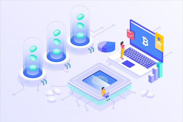 Blockchain cryptocurrency bitcoin mining online server isometric vector illustartion design