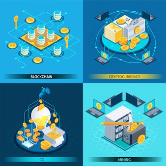 Blockchain cryptocurrency isometric design concept