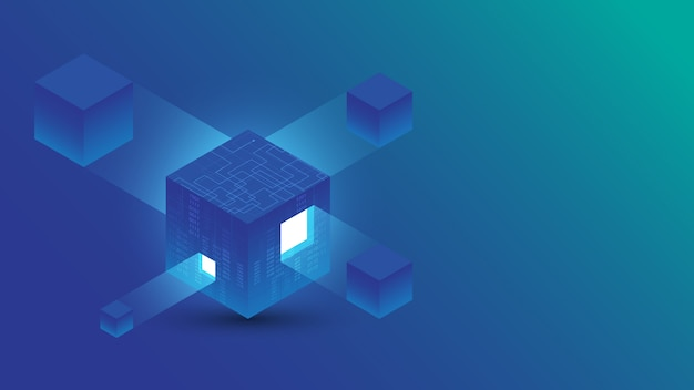 Blockchain isometric digital connection abstract technology background  illustration