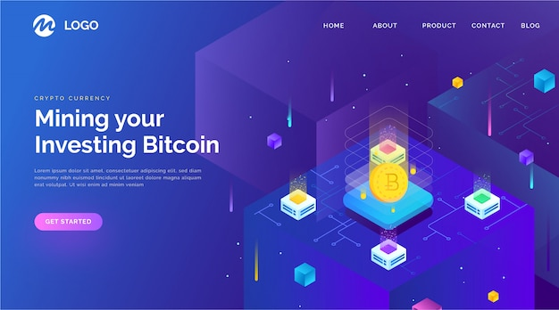 Blockchain landing page with isometric style