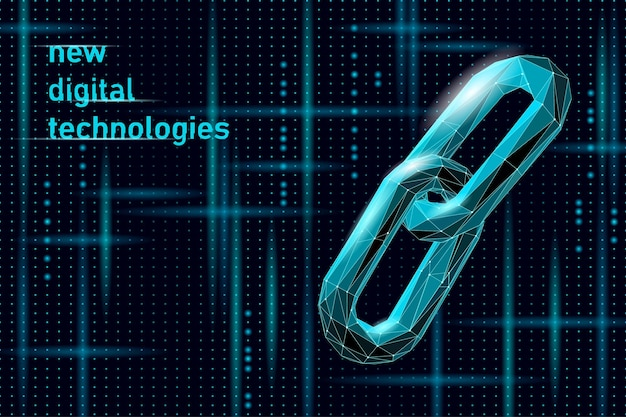 Blockchain link sign low poly design. internet technology chain icon triangle polygonal hyperlink security business network concept. blue futuristic style wire connected point vector illustration.