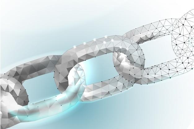 Цепочка blockchain link sign низкий поли дизайн сеть интернет-технологий