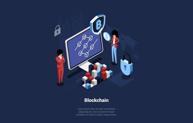 Blockchain mining isometric conceptual illustration