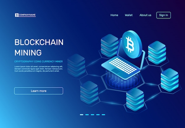 Blockchain mining landing page Premium Vector