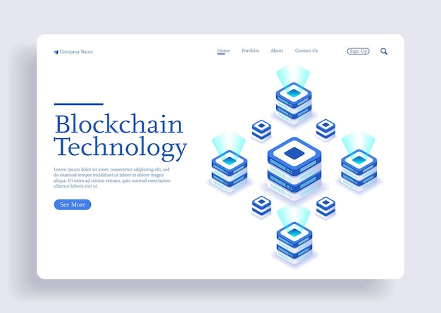 Blockchain modern flat design cryptocurrency isometric concept