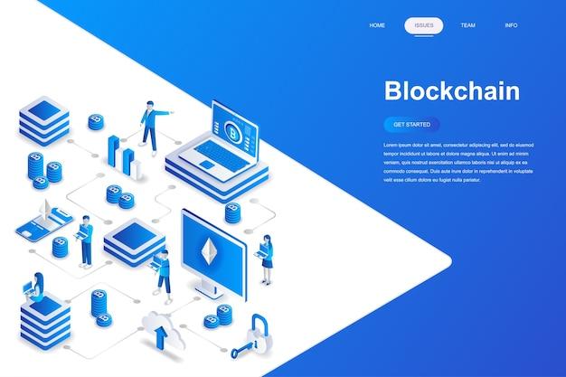 Изометрическая концепция blockchain.