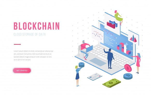 Blockchain modern flat design isometric landing page template. cryptocurrency and people concept. landing page template.