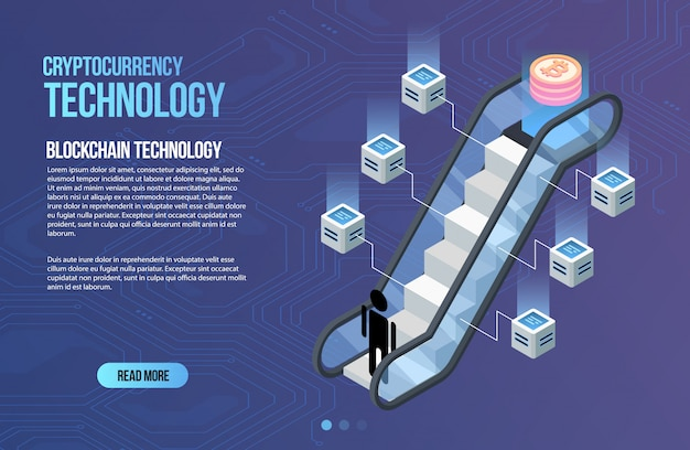 ブロックチェーンネットワークビジネステンプレート。暗号通貨とブロックチェーン等尺性組成物。マイニング抽象技術。デジタルマネーシステム。 webおよびアプリのレイアウト。