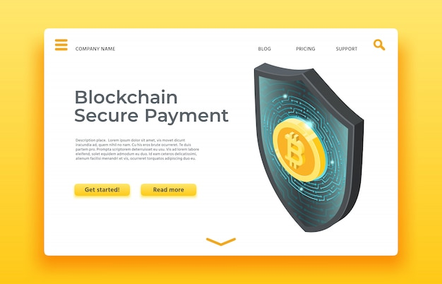Blockchain secure payment landing page. isometric shield  web