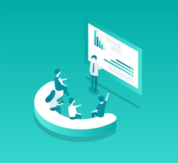 Blockchain seminar screen vector illustration