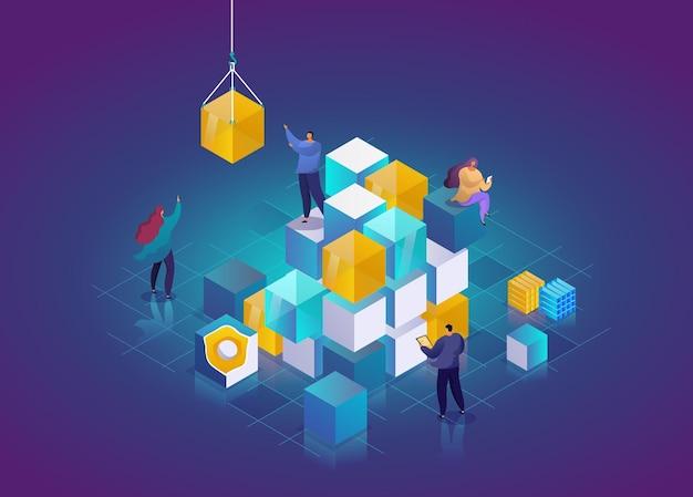 Blockchain 기술 3d 아이소메트릭 개념입니다. 추상 미래 하이테크 벡터 일러스트 레이 션. 사람들과 암호화폐 및 블록체인 아이소메트릭 구성.