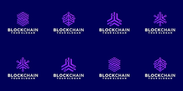 Blockchain technology abstract logo collection