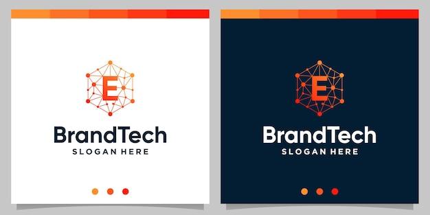 초기 문자 로고가 있는 blockchain 기술 추상 로고 그라데이션. 프리미엄 벡터