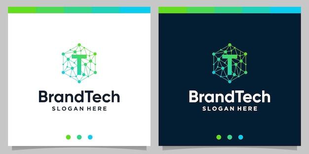 Градиент абстрактного логотипа технологии blockchain с логотипом начальной буквы. премиум векторы
