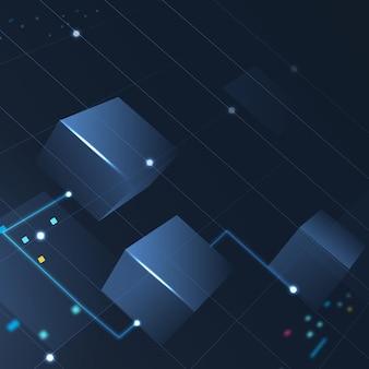 Vettore di sfondo della tecnologia blockchain in blu sfumato