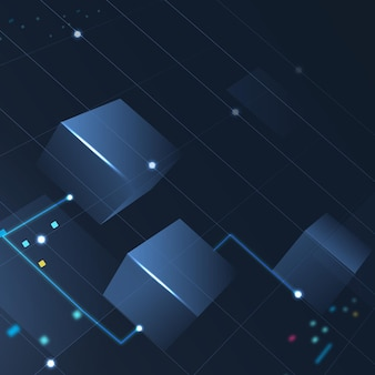 그라데이션 블루에서 blockchain 기술 배경 벡터 무료 벡터