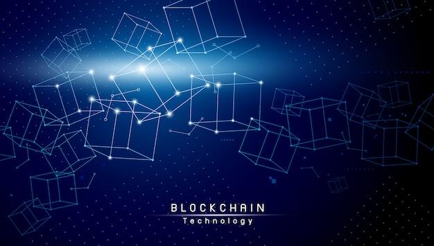 青色の背景にブロックチェーン技術設計