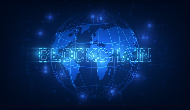 Blockchain technology on futuristic background with world map network