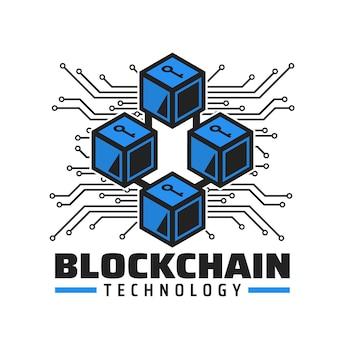Значок технологии блокчейн, векторная эмблема платежной службы криптовалюты. синие кубики с ключом, дорожки материнской платы компьютера. технология цифровых денег, база данных электронных транзакций будущего