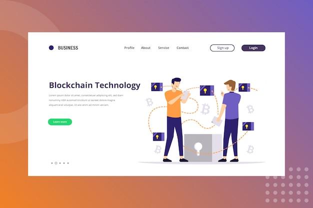 Иллюстрация технологии блокчейна для концепции криптовалюты на целевой странице