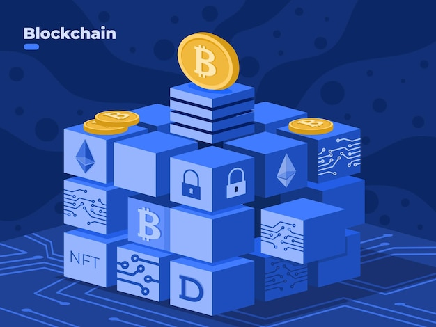 Blockchain technology illustration vector with crypto coin nft blockchain isometric illustration digital cryptocurrency technology