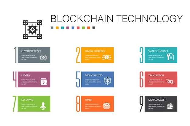 Blockchain technology infographic 10 option line concept.cryptocurrency, digital currency, smart contract, transaction simple icons