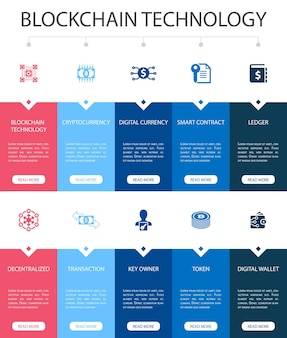 Blockchain technology infographic 10 option ui design.cryptocurrency, digital currency, smart contract, transaction simple icons