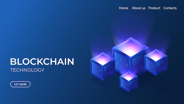 Blockchain technology isometric banner 3d neon illustration with digital cryptocurrency concept