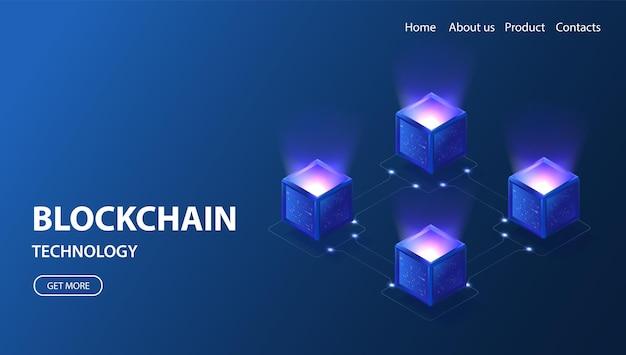 Blockchain technology isometric banner 3d neon vector illustration  block connection network
