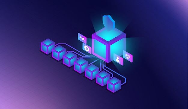 Blockchain technology isometric concept