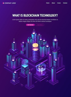 Blockchain technology isometric landing page.